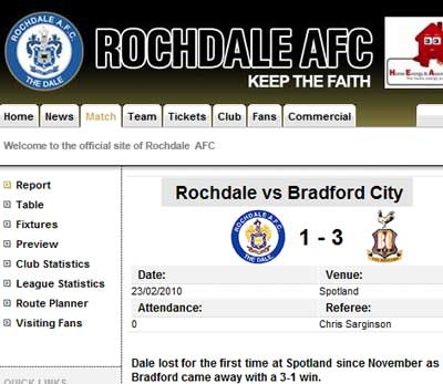 Rochdale's website as seen on Wednesday 3rd March, 2010