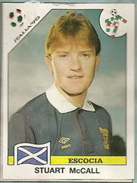 Stuart McCall from the Panini 1990 Sticker Album